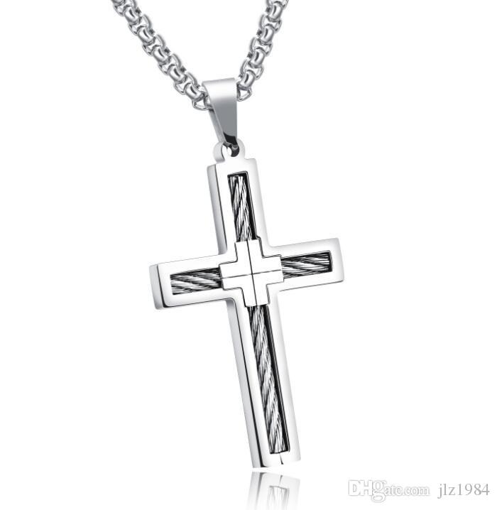 Factory Direct Punk Men Kpop Stainless Steel Wire Cross Pendant ...