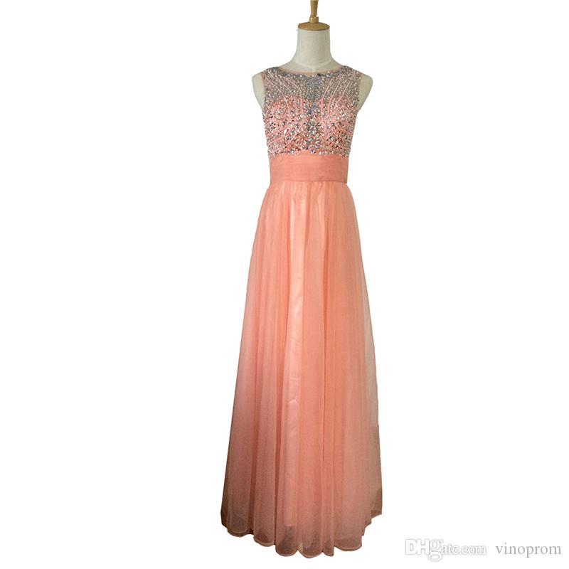 Vinoprom Vestidos Largos Para Bodas A-Line collo alto in rilievo rosa pavimento lunghezza sera formale Prom abito 2018