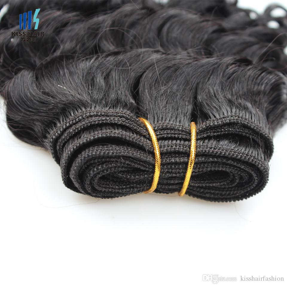 Kuss Haar 8 Zoll Tiefwelle Unverarbeitete Jungfrau Remy menschliche Haare Webart Kurz Bob Stil 165g Brasilianisches tiefes lockiges reines Haar Natürlich Schwarz