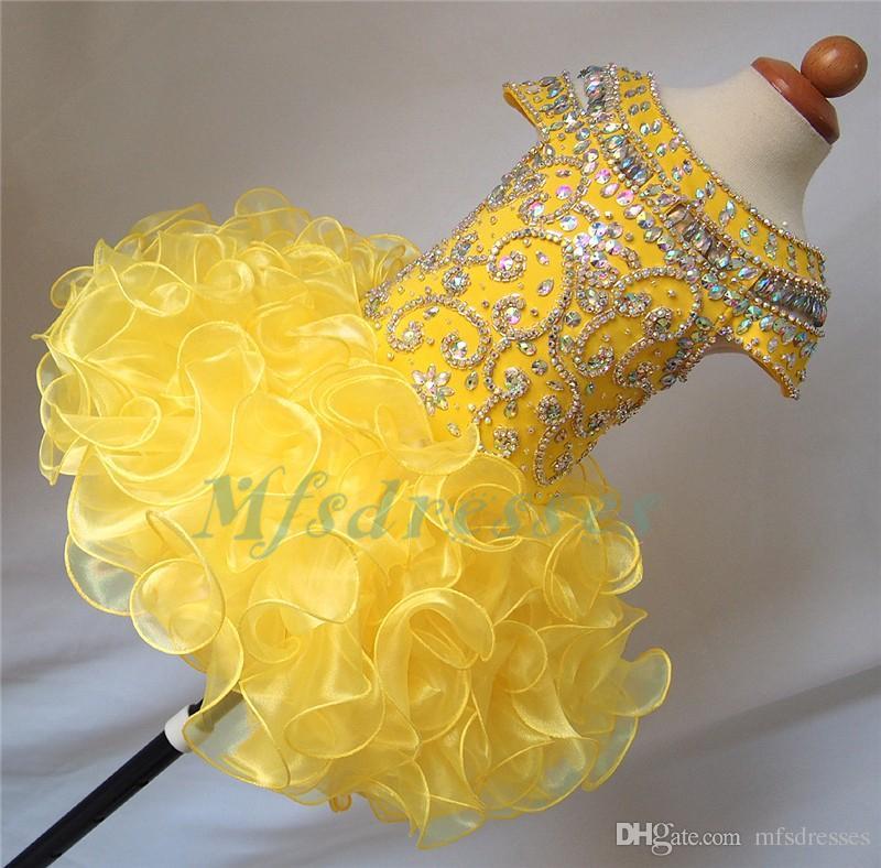 2017 Nuevo Lindo Amarillo Caliente Organza Cristalina Corta Niñas Vestido de Boda Vestido de Niña Florista Niños Prom Vestidos de Noche Niñas Cupcake Party Dress