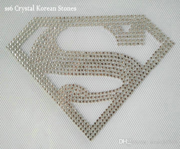 12x9cm DIY S for Superman Superwoman Rhinestone Heat Transfer Design Iron On Motifs Super Hero Bling