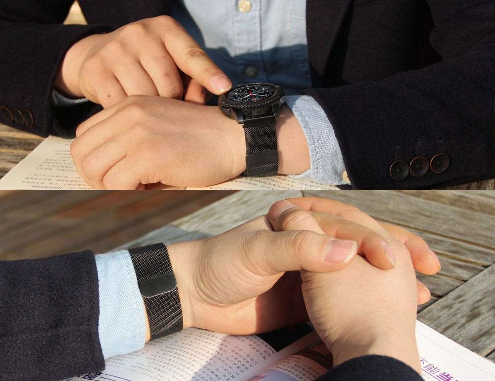 삼성 기어 S3 클래식 / 프론티어 자기 버클 스트랩 손목 팔찌를위한 22mm 밀라노 루프 시계 밴드 + 빠른 릴리스 핀