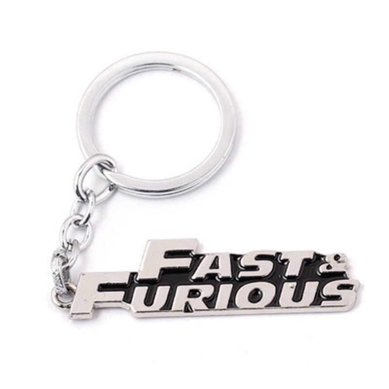 Portachiavi auto veloce veloce furious catena chiave d'argento placcato lettera keychian regalo di alta qualità