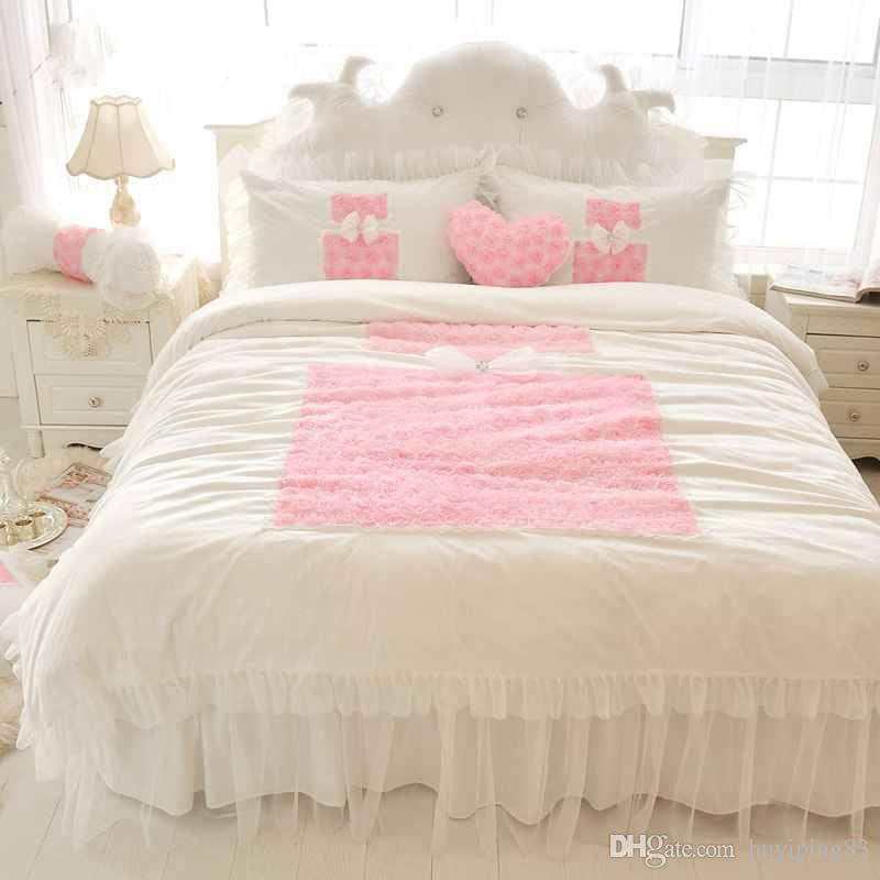Korean Princess Bedding Sets White 4pcs Ruffles Bedspread Lace Rose Flower Duvet Cover Queen King Bed Skirt Bedclothes Cotton Home Textile