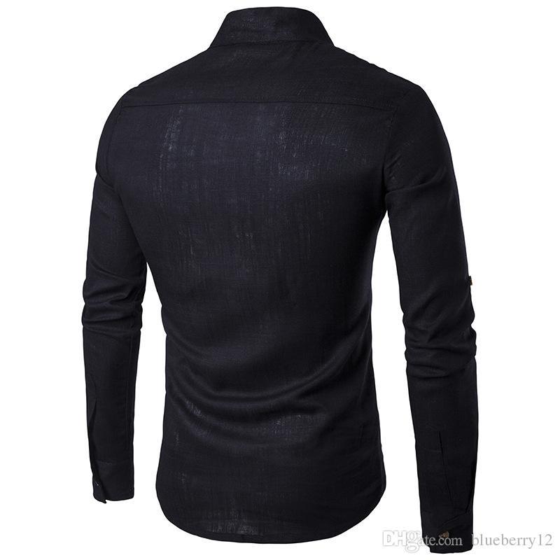 Solide Casual Leinen Männer Shirts Herren Langarm Kleid Shirts Baumwollhemd Männer Shirt Plus Größe Slim Fit Homme