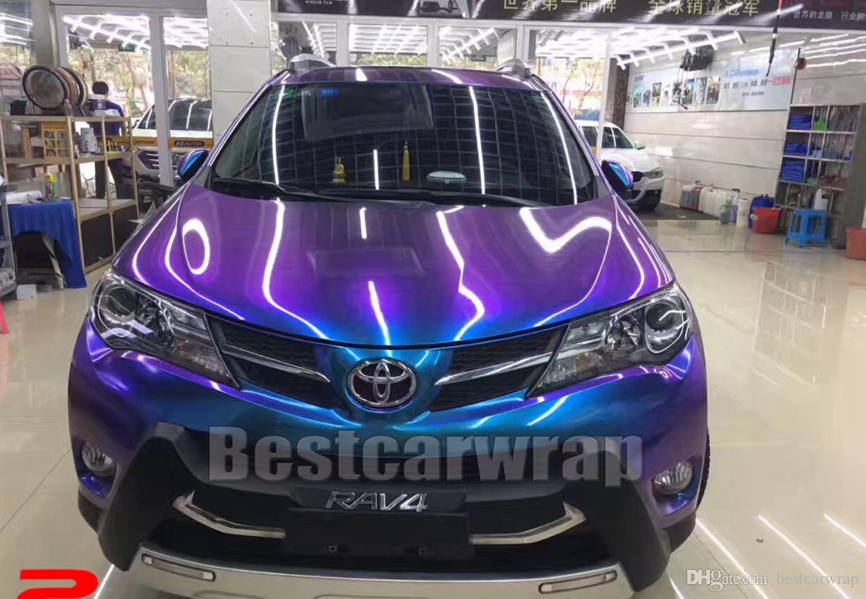 Синий фиолетовый глянцевый сдвиг Радужный винил для автомобиля wrap styling color flow covering фольга флип-флоп пленка с воздушным пузырем бесплатно 1. 52x20m 5x67ft