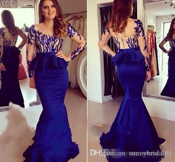 Sexy Royal Blue Evening Dresses Sheer Neck Long Formal Prom Gowns ...