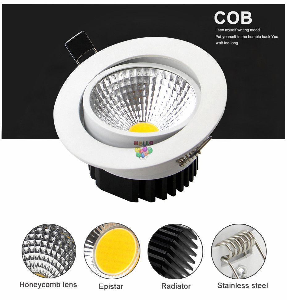mazorca led downlight de alta potencia 9 w 15 w 20 w dimmable led luces de abajo empotrado lámparas ac 110-240 v