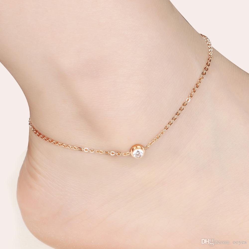 Sporty Rose Gold Plated  Stainless Steel Women Ankle Bracelet Jewelry From Ooyes, $1297  Dhgate