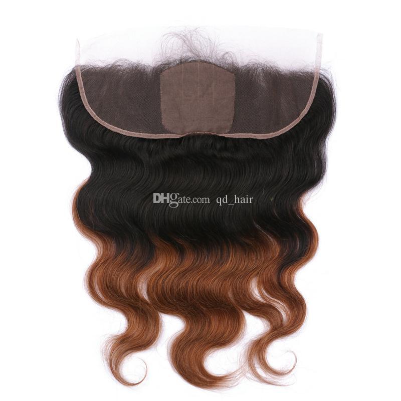 Ombre Silk Base 4x4 Lace Frontal con capelli intrecciati capelli medio castano Auburn 1B 30 Wave Wave con pizzo frontale