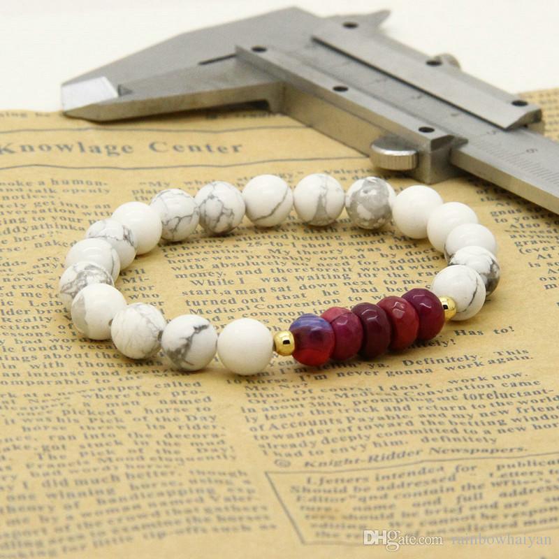 Пары браслет стили Оптовая 5 компл./лот 8 мм матовый Агат Белый Howlite камень с огнем бусины расстояние браслеты для любителей