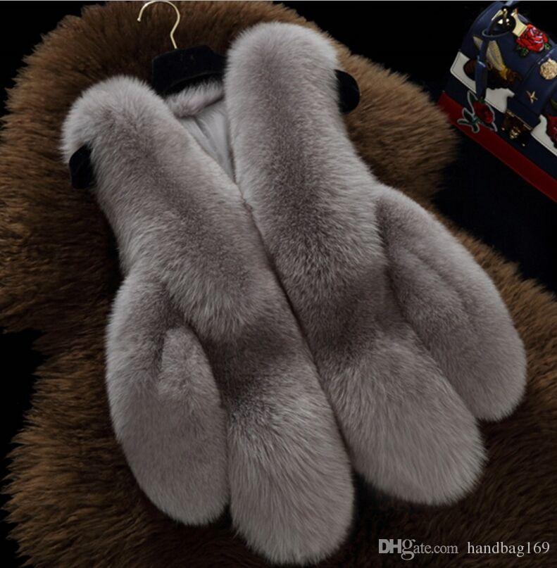 S-3XL Weibliche Mantel Frauen Faux Fuchs Pelz Weste Winter Warme Pelzmantel Strickjacke Femme Pelzwesten Mode Luxus Frauenjacke Gilet Veste