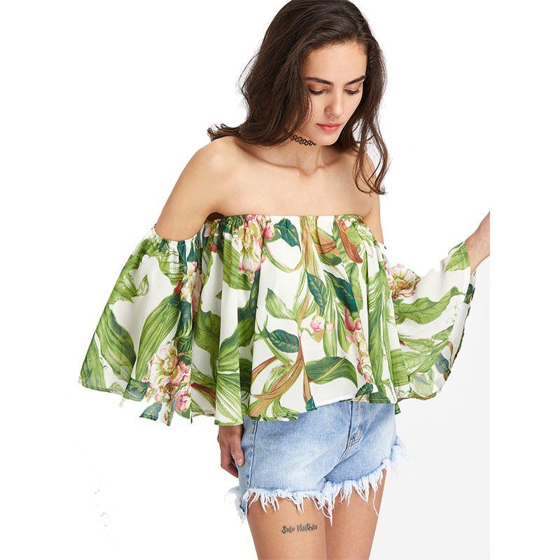 Été Floral Print Slash Neck Sexy Blouse En Mousseline de Soie Femmes Élégant Manches Papillon Hors Épaule Loose Fit Chemises