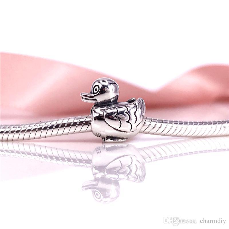 Branelli di fascino Ducky dell'argento sterlina del commercio all'ingrosso 925 adatti il braccialetto Chain della catena del serpente ed i monili di modo DIY 790955