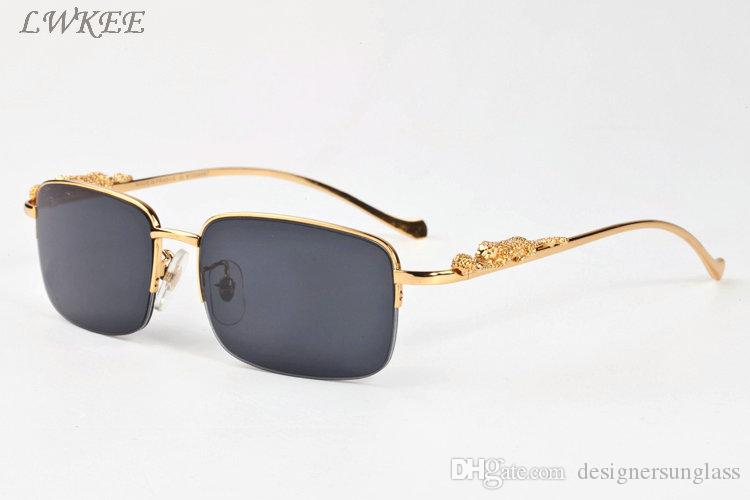 43178ff43d05b8 2018 Luxury Designer Polaroid Sunglasses For Men Women Cool Gold Silver  Leopard Pattern Metal Half Frame Black Brown Clear Lens Prescription  Glasses ...