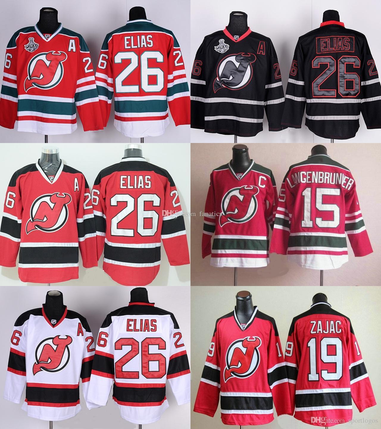... 2017 MenS New Jersey Devils 26 Patrik Elias 19 Travis Zajac 15  Langenbrunner Red White Black Authentic New Jersey Devils No.19 ... 8d5eee43a