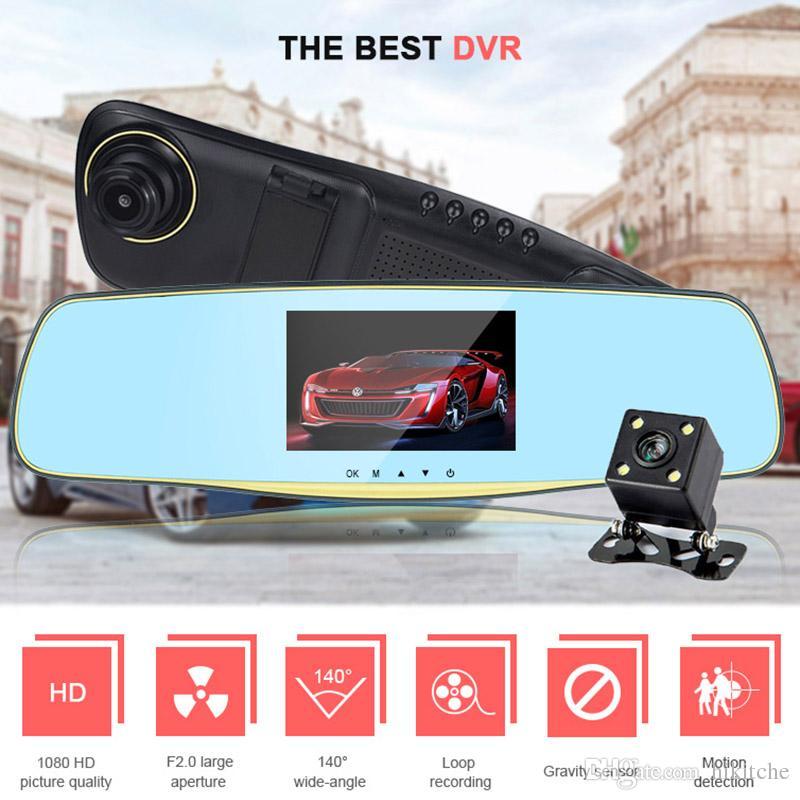 hkt27 5.0 Inch Rearview Mirror Car DVR Dual Lens Camera Auto Recorder Video Registrator Dash Cam Camcorder Full HD1080p Night Vision