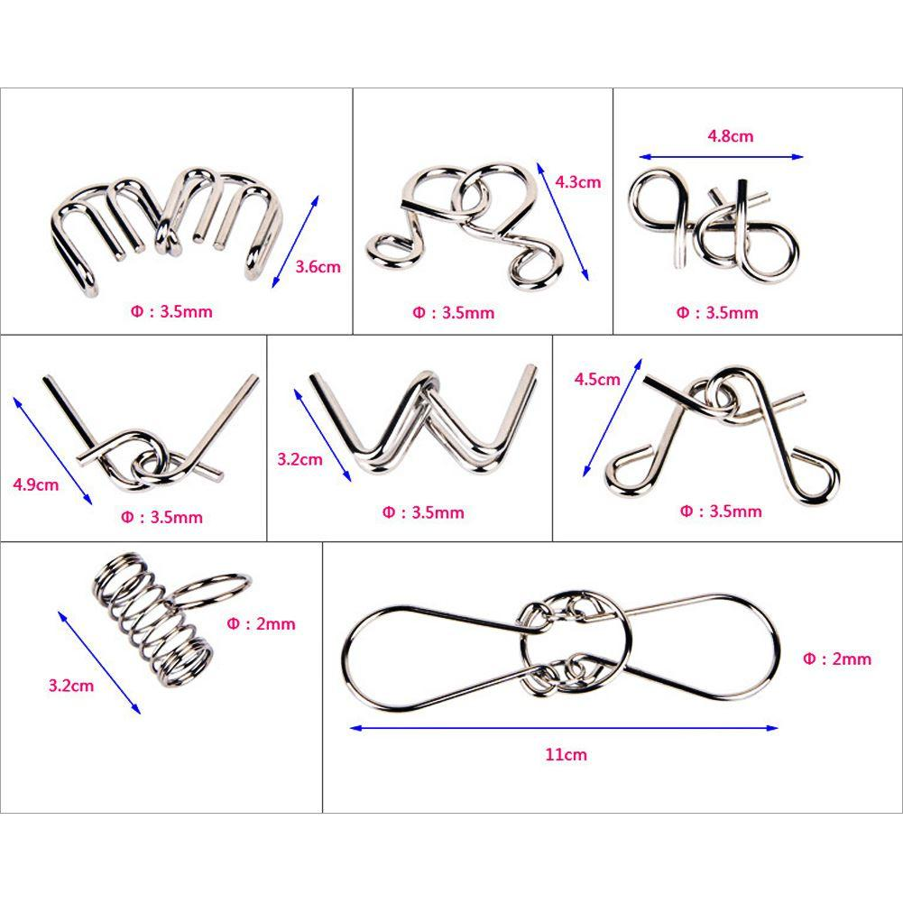 8PCS / Set Metal Wire Puzzle IQ Mind Brain Teaser Puzzles juego para adultos niños niños