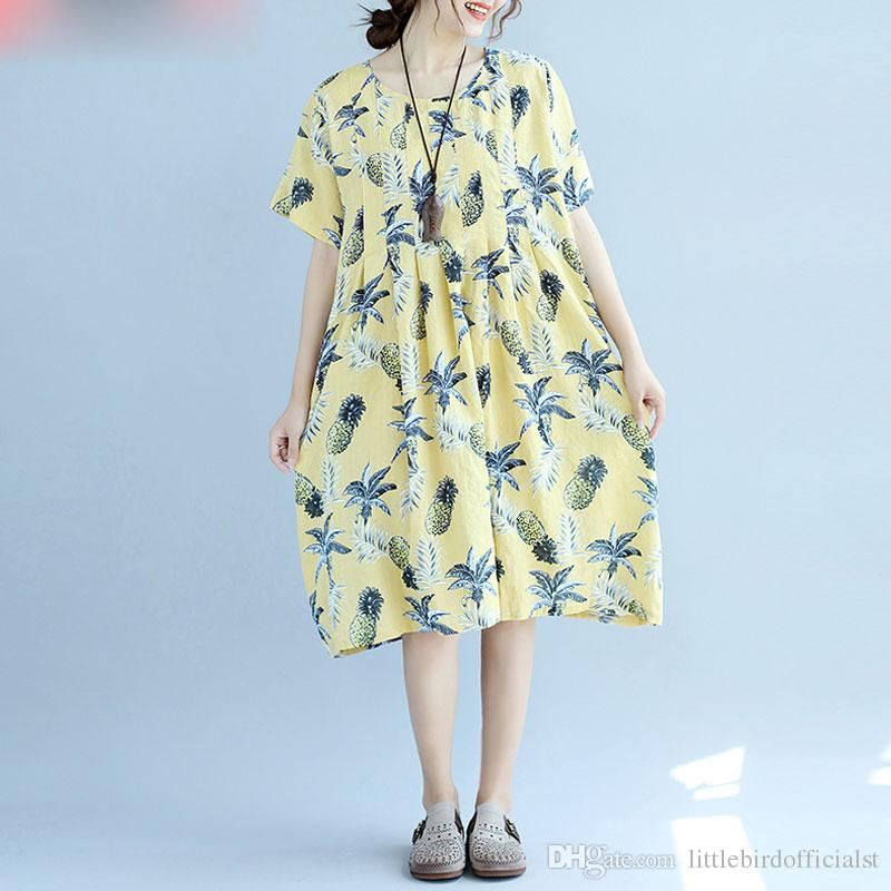 Plus Size Summer Dress Women Linen Floral Female Hawaiian Dress Beach Midi  Style Sweet Loose Large Size Yellow Fat Dress
