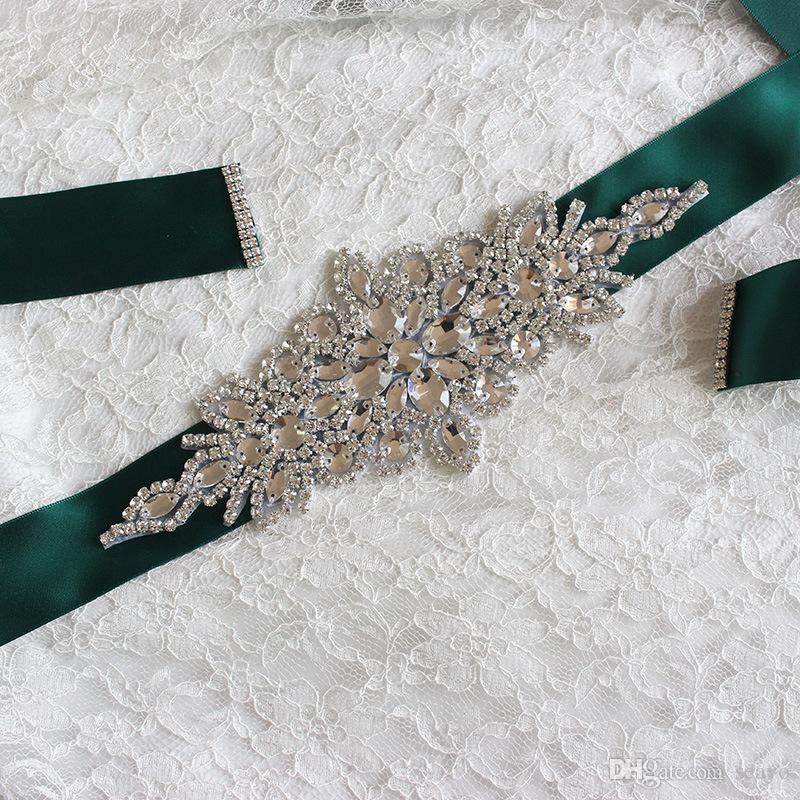 2019 Nupcial Faixa Cintos com contas Para O Casamento Vestidos de 270 cm Super Longa Noite Prom Princesa Champagne Branco Vermelho Preto Rosa Marfim Cinza