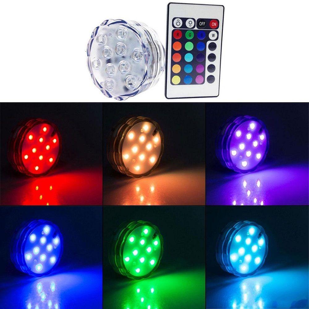 Redondo Super brillante RGB Multicolores LED sumergible LED Floralyte Light LED Light Cup con control remoto para la decoración de la boda