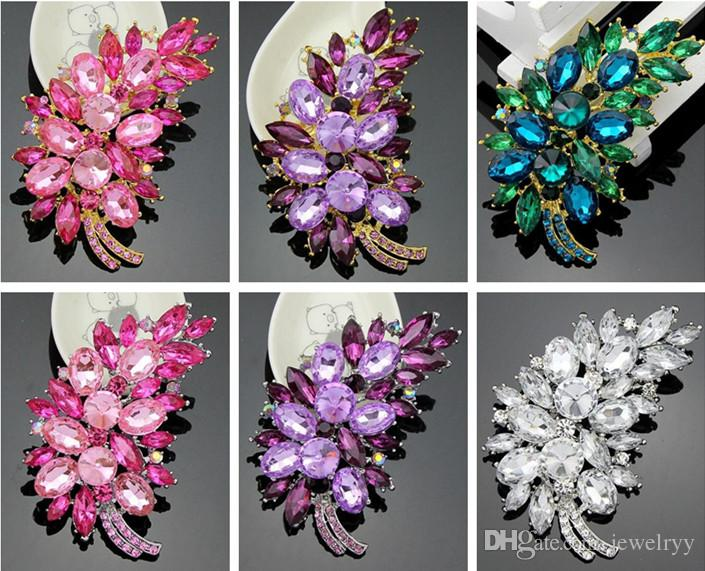 Luxury Crystal Flower Clusters Leaf Brooch Pin Feather Rhinestone Wedding Bridal Pins Brooches Fashion Party Corsage Breastpins Prom gift