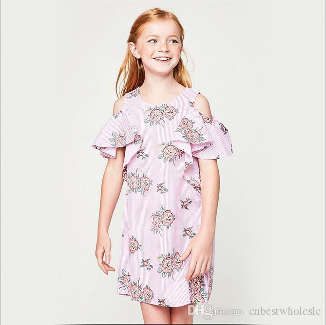 2018 2017 Junior Striped Dresses Big Kids Girls Printed Floral Dress Teenager Fashion Off Shoulder Babies Summer Clothing From Cnbestwholesle
