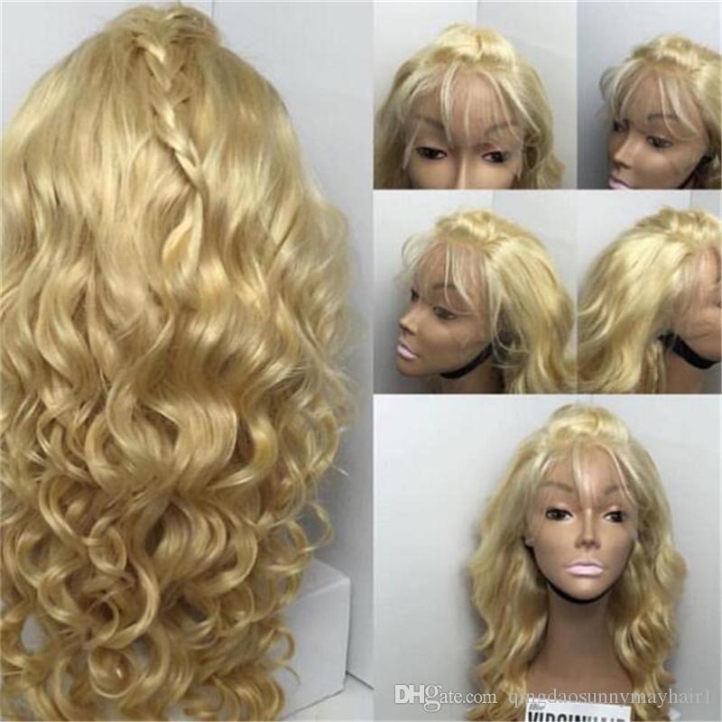 # 613 Vague brésilienne Human Hair Blonde Perruque pleine dentelle avec cheveux bébé 130 densité blonde dentelle perruque avant pour femmes blanches