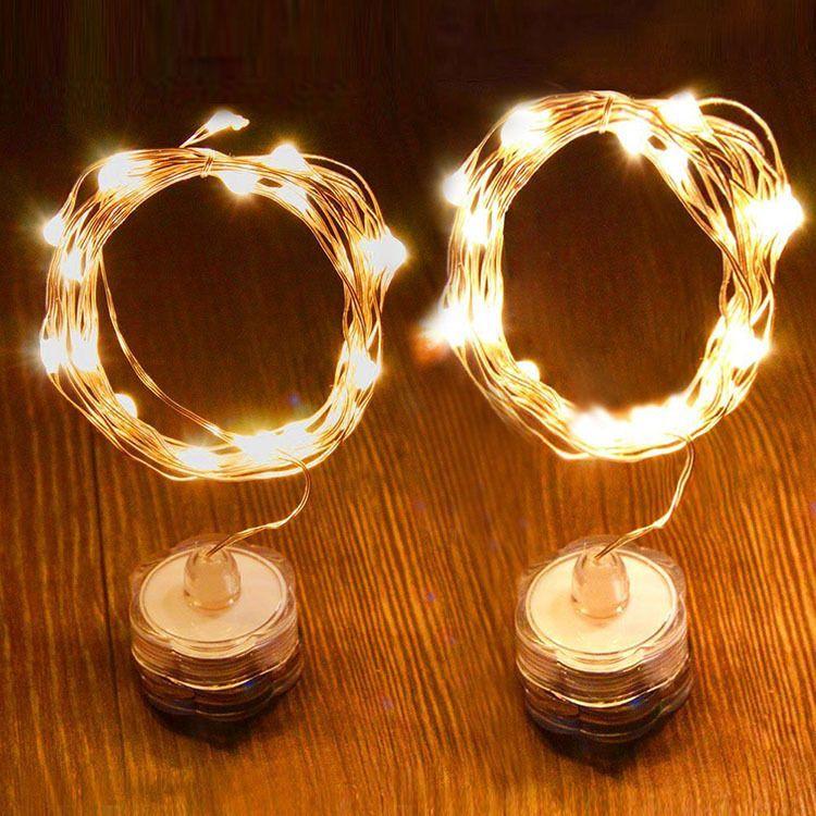 sumergible 2M 20LED alambre de cobre estrellado cadena de luces para el partido impermeable sin llama luces Led batería operado hadas luces de cuerda