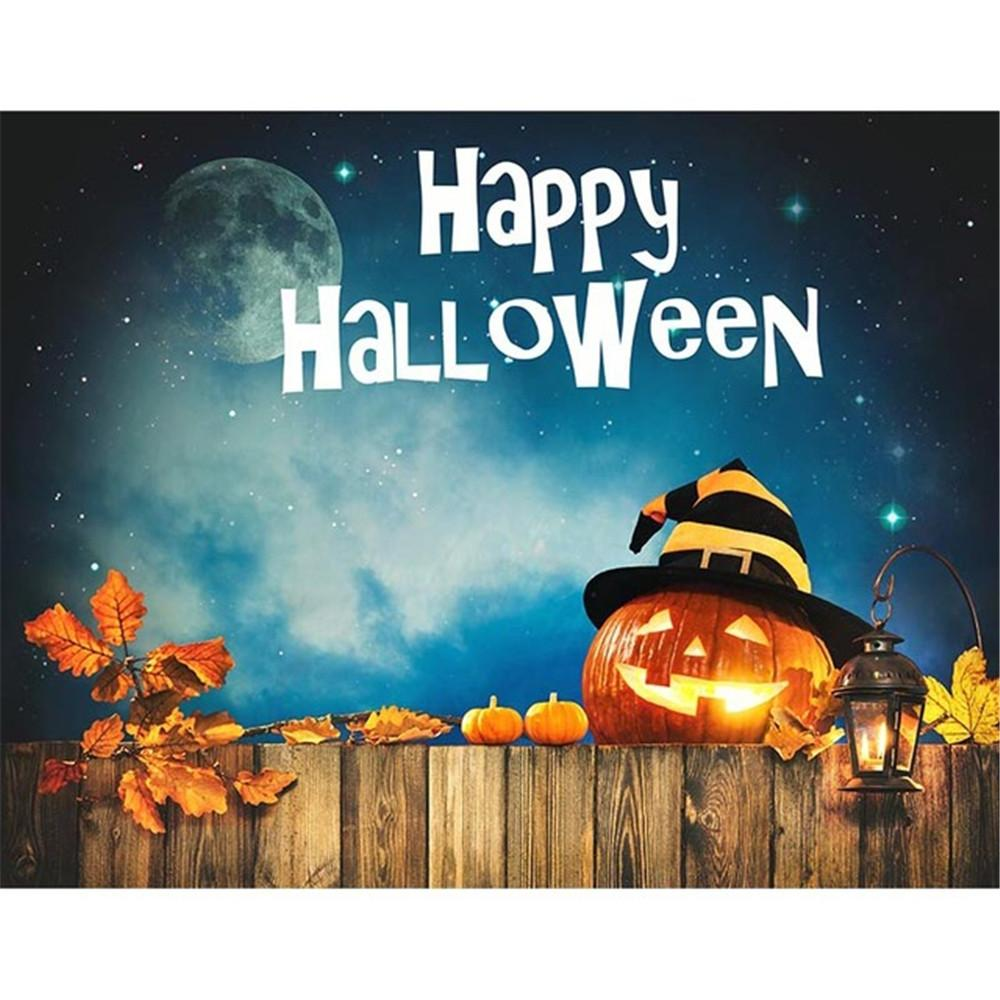 2018 happy halloween backdrop night party banner dark blue sky glitter stars moon pumpkin lantern with hat maple leaf backgrounds wooden board from