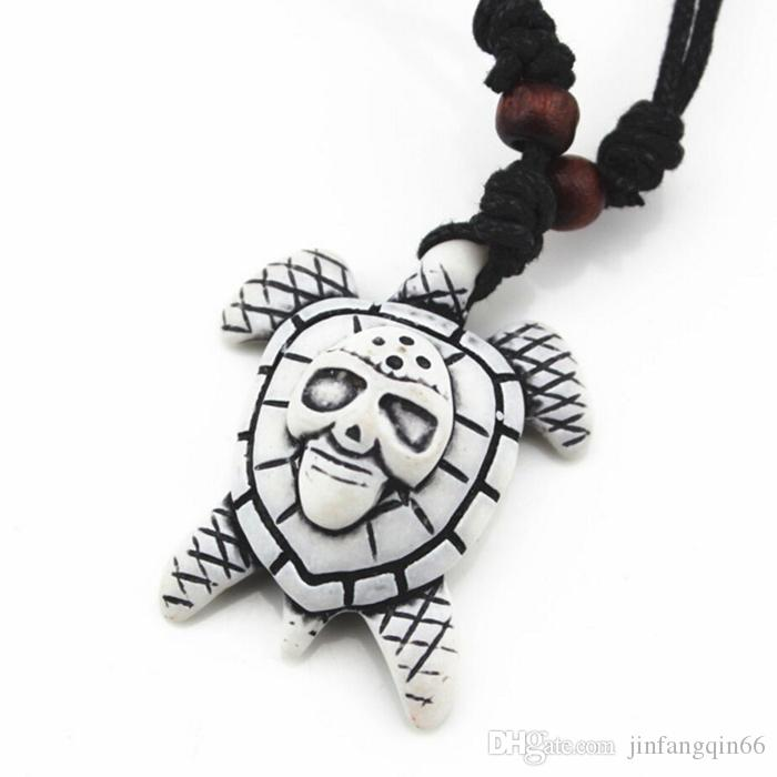 Fashion Jewelry Bionic Bone Carving Lucky Surfing Turtles Pendant Necklace Imitation Bone Length Adjustable Cord Jewelry For Man Women