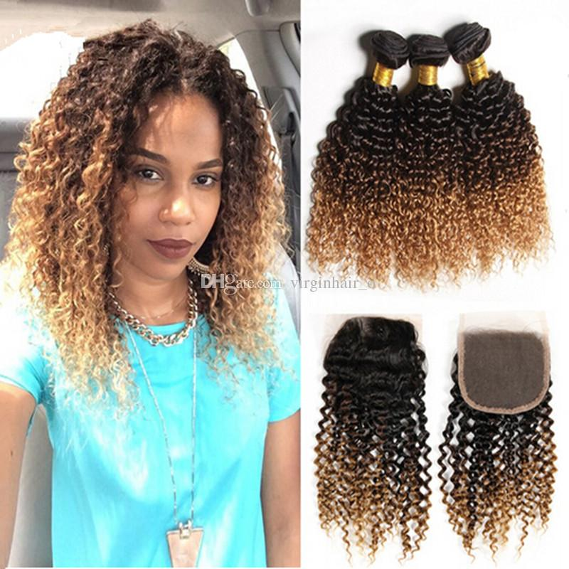 Ombre Hair Extensions With Top Closure 1b427 Honey Blonde Ombre