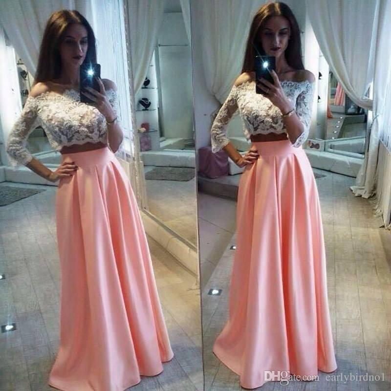 13c1979db118 2017 Elegant Off The Shoulder Lace Two Pieces Prom Dresses A Line Pink Long  Sleeves Dresses Evening Wear Cheap Party Gowns Modest Prom Dresses Prom  Dress ...