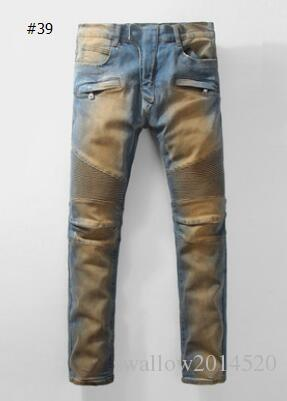 57 Styles Hole Men Biker Jeans Classic Straight Jeans Wash Cowboy Slim Denim Trousers Skinny Pants Casual Mens Ripped Jean Motorcycle Jeans