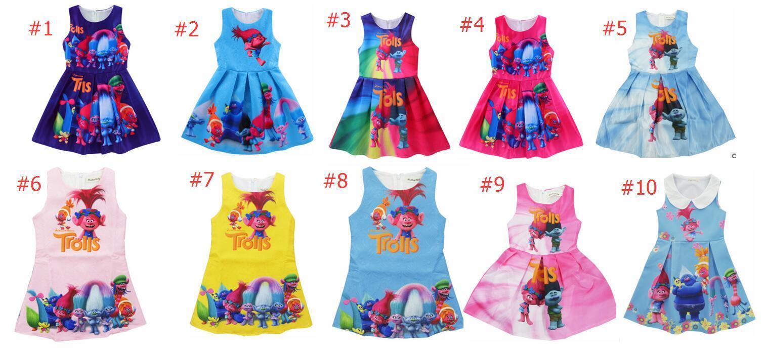 Compre Vestidos De Niñas Trolls Ropa De Niñas Vestido De Princesa ...