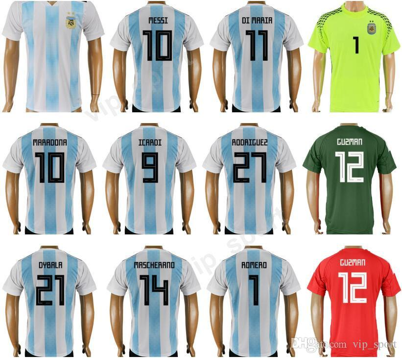 2019 2018 Word Cup 10 Lionel Messi Jersey Soccer Argentina Football Shirt  Kit 11 DI MARIA 10 MARADONA 14 Javier Mascherano 9 ICARDI 21 DYBALA From  Vip sport ... 5619cc2d0
