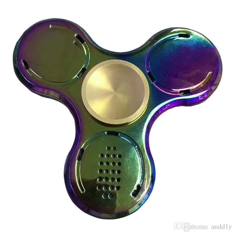 Hand Metal Fid Spinner Bluetooth Speaker with Colorful LED Lighti