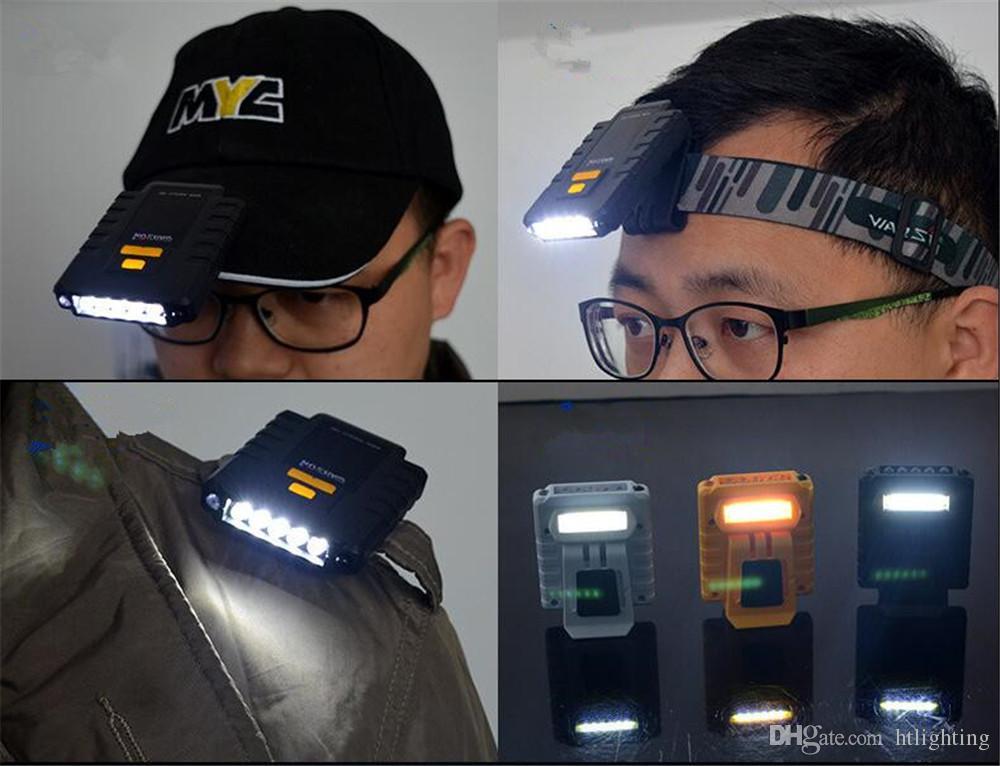 USB Rechargeable 5 LED Vibration Wave Induced Sensor LED Headlamp Cap Hat Headlight Lamp for Hiking Fishing Camping