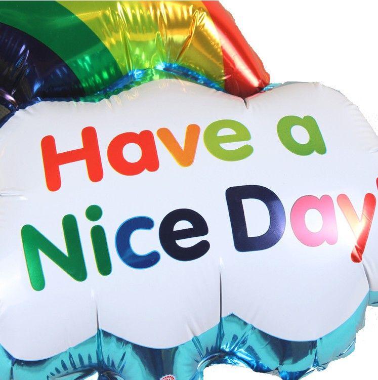Neue Folienballons Double Side Geburtstag Hochzeit Dekoration Größe Lächeln Gesicht Regenbogen Globos Bälle haben einen schönen Tag Kinder Spielzeug