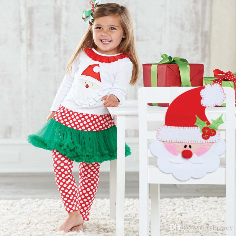 Christmas girl pajamas outfits top+pantskirt Santa 2-piece tutu dress kid clothing baby cotton clothes family outfits XMAS suit