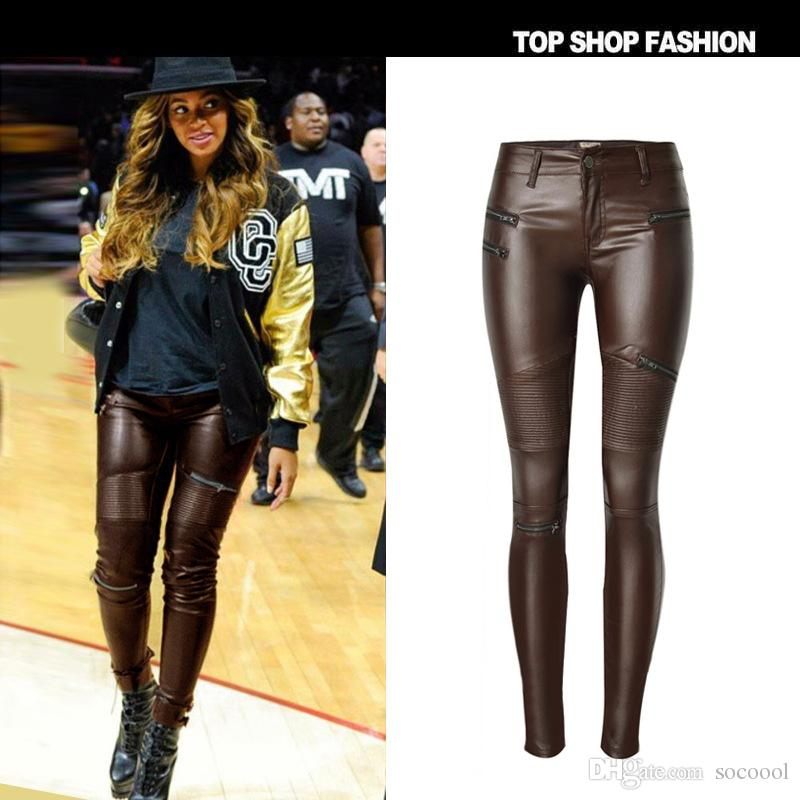 2017 Women' Brown Pu Leather Pants Fashion Zippers Boots Trousers ...