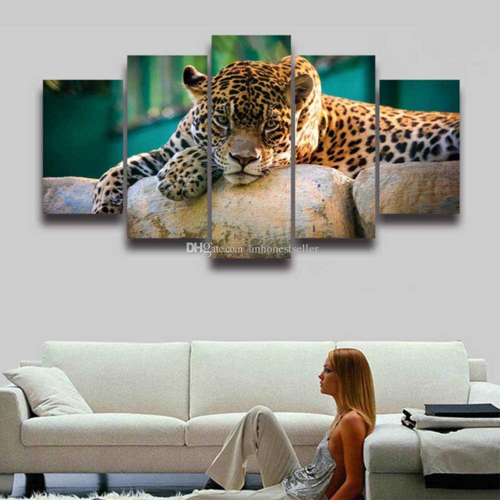 2018 5 Panel Set Printed Leopard Animal Modular Picture Landscape ...