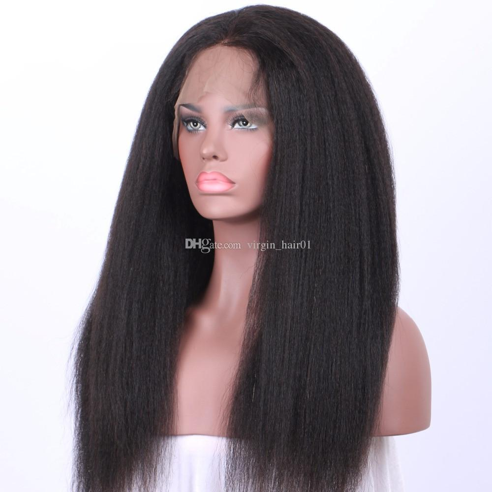 Peruvian Human Virgin Hair Kinky Straight 360 Lace Frontal Wig Light Yaki 360 Lace Wig Machine Wig For Sale