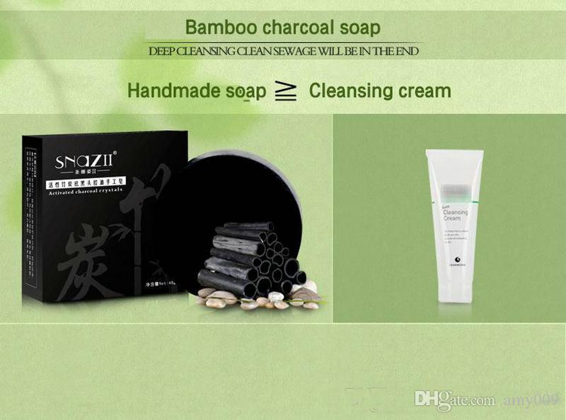 DHL Bamboo Charcoal Handmade Soap Skin Care Natural Skin Whitening Soap Blackhead Remover Acne Treatment Oil Control for men women