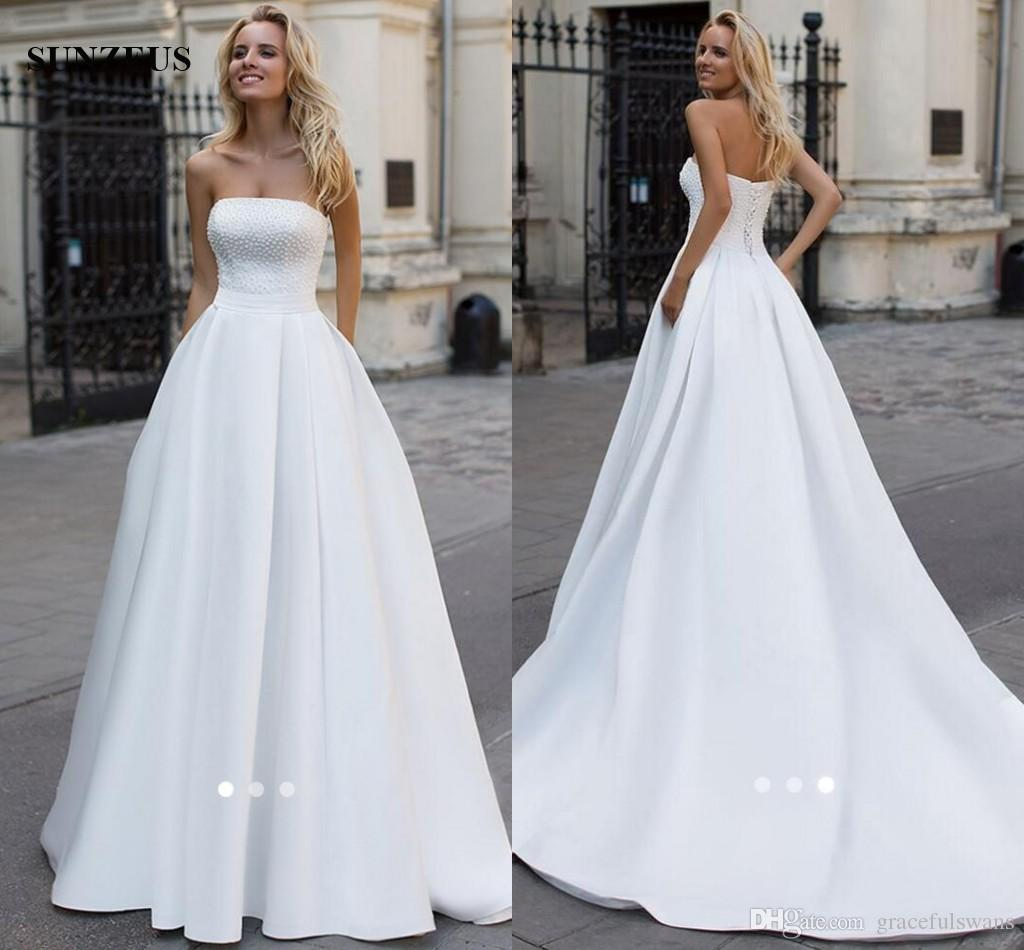 Discount Long White Satin Wedding Dresses A Line Strapless Beaded Bridal Gowns 2017 Simple Elegant Women Dress For Designers: Elegant Strapless Wedding Dresses Puffy At Websimilar.org