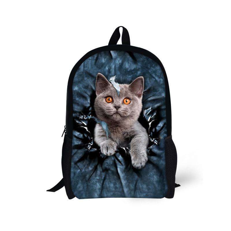Çocuk Okul Çantaları Genç Erkek Kız için Sevimli Denim Kedi Köpek Okul, Çocuklar Bookbag 3D Karikatür Hayvan Sırt Çantası