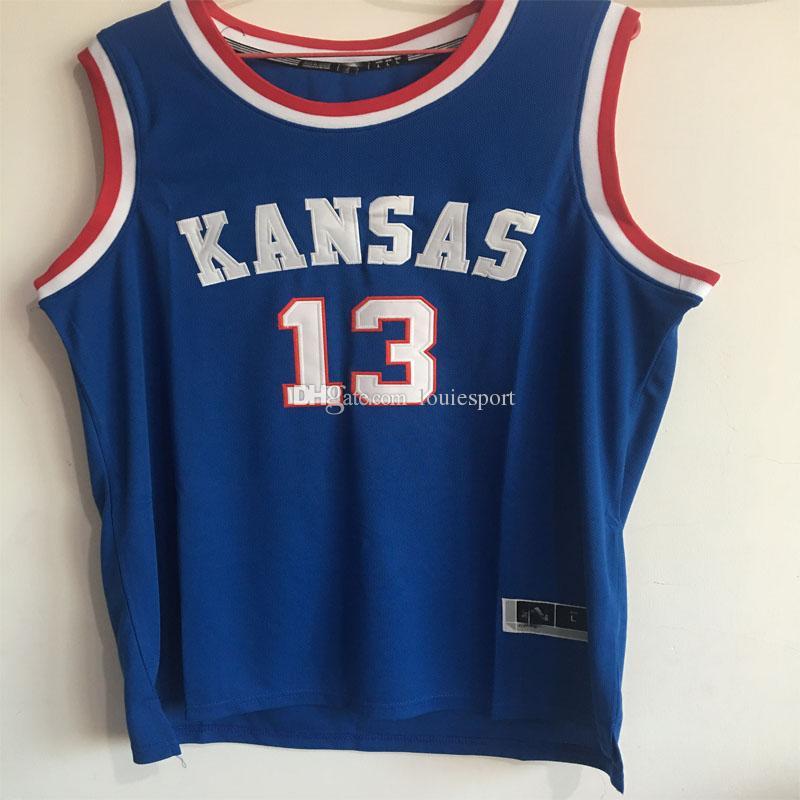 fb07c136 ... 2017 13 Wilt Chamberlain Jersey Kansas Jayhawks Wilt Chamberlain  College Basketball Jersey White Blue Throwback Stitched ...