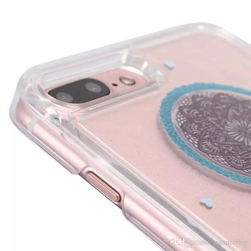 Colorful Dream Catcher Cover For Samsung Galaxy S6 S7 edge Case For iphone 6S 6 7 Plus 5 5S SE Glitter Flowing Liquid Quicksand Phone Cases