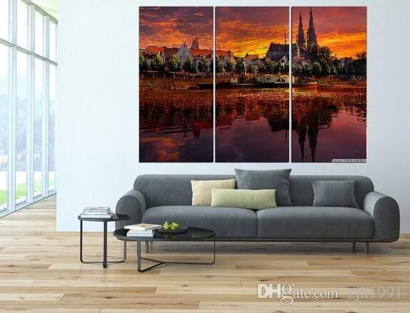 3 plate of large modern oil painting scenery beautiful city view images of modern home decoration sitting room or bedroom wall art canvas pr