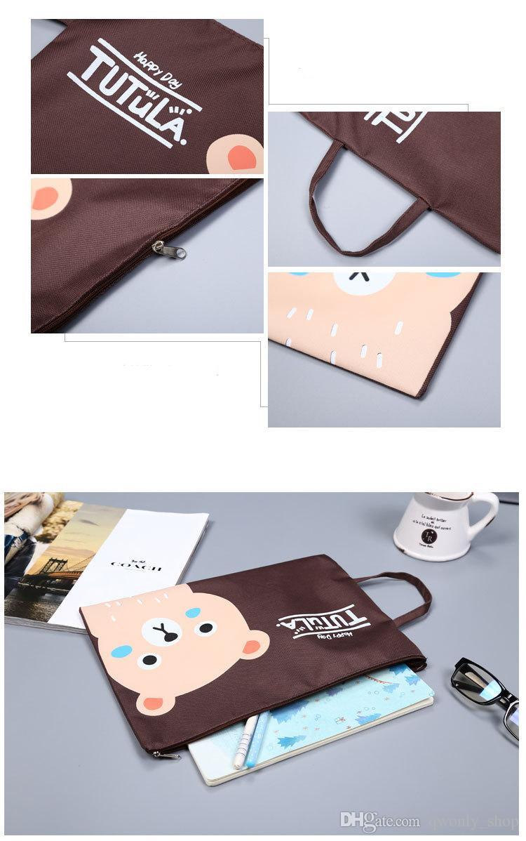 A4 Kawaii Cartoon Characters Bear Rabbit Duck Oxford File Folder Document Filing Bag Stationery Bag Promotional Gift Stationery